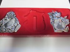 Gorham Silver-Plated Picture Frame Ornaments Set of 2 Santa & Snowman