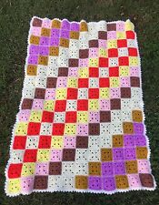 VINTAGE PATCHWORK HAND CROCHET AFGHAN LAP THROW