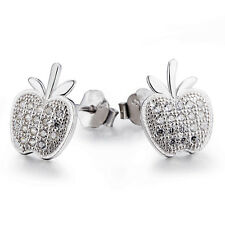 Cute Apple 925 Solid Sterling Silver Clear Crystal Pave Earring Stud Wholesale