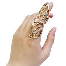 Gold Toned Finger Knuckle Armor Stretch Ring With Clear Rhinestones