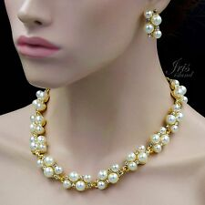 Gold Plated GP Clear Crystal Necklace Earrings Bridal Wedding Jewelry Set 00900
