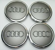 4 x ALLOY WHEEL CENTER HUB CAPS 69mm AUDI GREY S3 S4 A3 A4 A6 A8 TT RS4 Q5 Q7