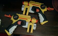 Lot 2 2004 Hasbro Nerf Action Pull Back Pistol Dart Guns w/ Laser Sight Works