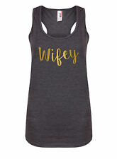 Wifey - Women's Racerback Vest - Gym Bride Wedding Workout Party Love Tank Top