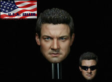 1/6 Jeremy Renner Hawkeye Head Sculpt With Sunglasses For Hot Toys Phicen Figure