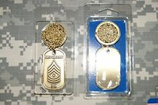 Key Chain United States Army 1SG E-8 Brass Rank Dog Tag with Chain Necklace
