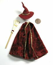1:12 Miniature CAPE/ HAT/ BROOM Witch Wizard Dollhouse Room Box House Doll Goth