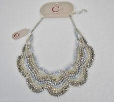 CONSTANSA: top stylishe Halskette Statement-Kette hellblau/grau Glitzer NEU