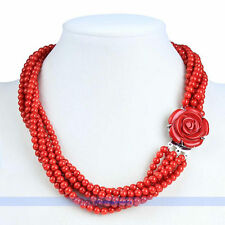 Genuine 20inch 6 Strands 5mm Red Round Coral Necklace W/Red Flower Clasp | FJUS