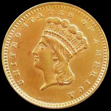1862 GOLD UNITED STATES PRINCESS HEAD $1 COIN CIVIL WAR DATE TYPE 3 ABOUT UNC.