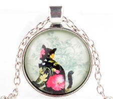 Vintage Cat Cabochon Tibetan silver Glass Chain Pendant Necklace KK44