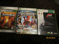 Marvel Ultimate Alliance for Xbox 360 Live, FORZA 2 & 3, Saints Row game lot