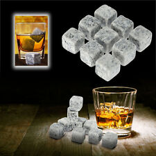 9PCS Whisky Ice Stones Wine Drinks Cooler Cubes Whiskey Rocks Granite Pouch Grey