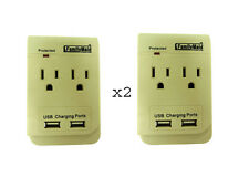 Pack of 2 Outlet Adapter with 2 USB Ports Plus light emitting Protected Light
