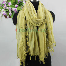 Elegant Women's Embroidery Lace Floral Stitching Cotton With Tassel Long Scarf