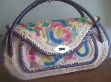 HAND TOOLED LEATHER tan pink blue MEXICO FLORAL flowers brown HANDBAG purse BOHO