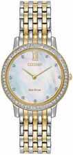Ladies Citizen Eco-Drive Gold Silver Stainless Dial Swarovski Watch EX1484-57D