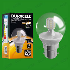 25x 3.7W Dimmable Duracell LED Clear Mini Globe Instant On Light Bulb BC B22