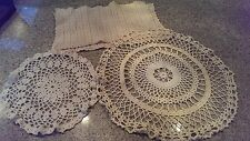 VTG LOT of 4 Crocheted table linens or doilies CREAM colored