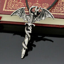 Men's Punk Flying Dragon Sword Titanium Stainless Steel Pendant Necklace UK Sell