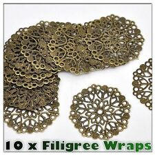 10 x Quality Antique Bronze Filigree Wrap Stamped Embellishments 35mm
