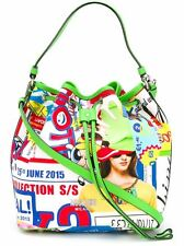 MOSCHINO Couture Jeremy Scott Power Puff Girls Graphic Print Tote Bucket Bag LMT