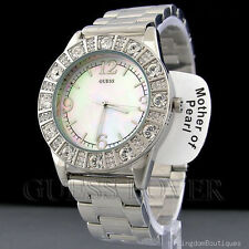 New Authentic Guess Silver Tone Stainless Steel MOP Dial Crystals Lady Watch