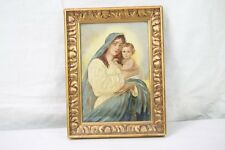 Antique Religious Oil Painting Portrait Madonna & Child Mother Mary Signed