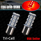 2x RED 1156 BA15S 5050 18-SMD Car RV Trailer Backup Turn Signal Lights