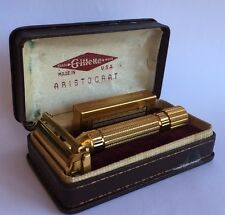 Vintage 1940's Gold Gillette Aristocrat With Original Gold Case & Gold Blade Box