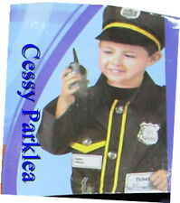 Police Man Cops Uniform Kids Boys Child Halloween Costume Hat Halkie-Talkie 3-7