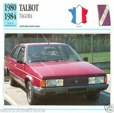 TALBOT TAGORA 1980 1984 CAR VOITURE FRANCE CARTE CARD FICHE