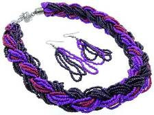 Multi Strand Multi Purple Glass Seed Bead Braided Necklace Earring