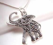 Elephant Marcasite Necklace 925 Sterling Silver Corona Sun Jewelry
