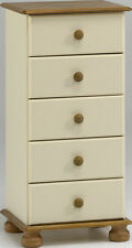Steens Richmond 5 Drawer Narrow Chest in Cream and Pine
