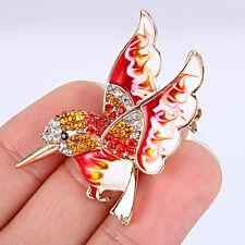 Flying Bird Brooch Pin Animal Enamel Red Austrian Crystal Red Gold GP
