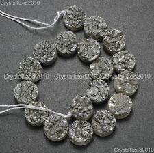 Druzy Quartz Agate Side Drilled Flat Back Connector Cabochon Round Beads 10mm