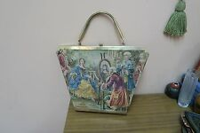 "VINTAGE 1950'S TYROLEAN EUROPEAN WOVEN TAPESTRY HANDBAG PURSE 15"" X 12"""
