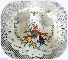 """Eggscitment  12"""" Lace  Doily Bunnies Rabbit Easter Spring Daffodil Doilies"""