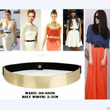 Elastic Mirror Metal Waist Belt Metallic Bling Gold Plate Wide fashion Band HY