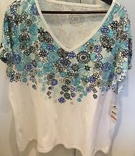 New Ladies White/Blue Studio Works T-Shirt Top Size 3XL 24/26
