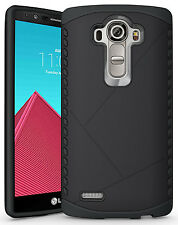 BLACK TOUGH SLIM ARMOR SHIELD RUGGED TPU RUBBER HARD CASE COVER FOR LG G4 PHONE