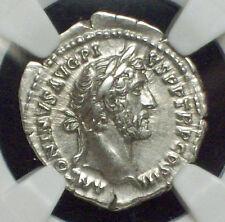 NGC Ancient ROMAN EMPIRE 138-161 AD Antoninus Pius AR Denarius AU STAR 5/5 Grade
