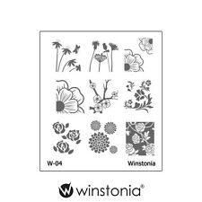 Winstonia Floral Nail Art Stamping Image Plate Stamp Polish Disc Romantic Cute