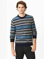 NWT Gap Lambswool Reverse Fair Isle Sweater Color Blue Size S