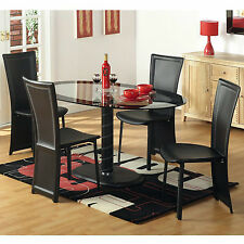 Stunning New Black Elena Oval Clear Glass Dining Set with 4 Faux Leather Chairs