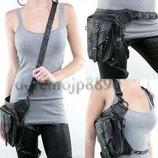 Adult PU Vintage Gotisch Punk Fanny Waist Shoulder Leg Bag Hiking Messenger Pack