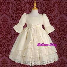 Quality Satin Lace Wedding Flower Girl Party Victorian Dress Ivory Sz 4-5T VD003