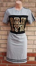 RIBBON GREY BLACK GOLD FUNKY BODYCON PENCIL TUBE T SHIRT TUNIC TOP DRESS 8 S
