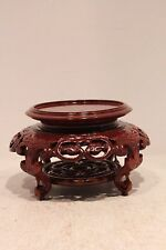 Beautiful Chinese Carved Circular Wooden Stand Lotus Pedestal 4.5'